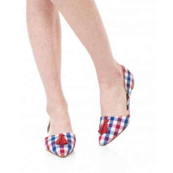 Caroline Flat - Red/Navy Gingham